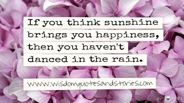 If you think sunshine brings you happiness , then you haven't danced in the sun