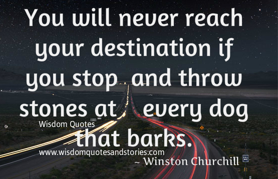 You will never reach your destination if you throw stones at every dog that barks - Winston Churchill