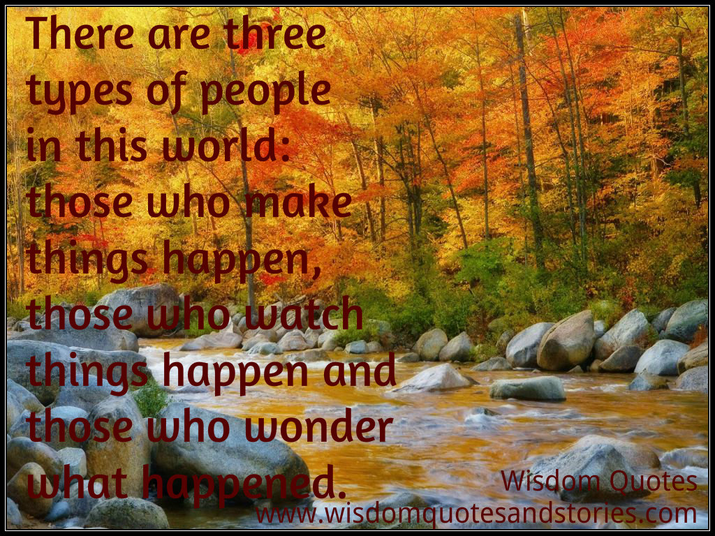 Three types of people in this world: those who make things happen, those who watch things happen and those who wonder what happened  - Wisdom Quotes and Stories