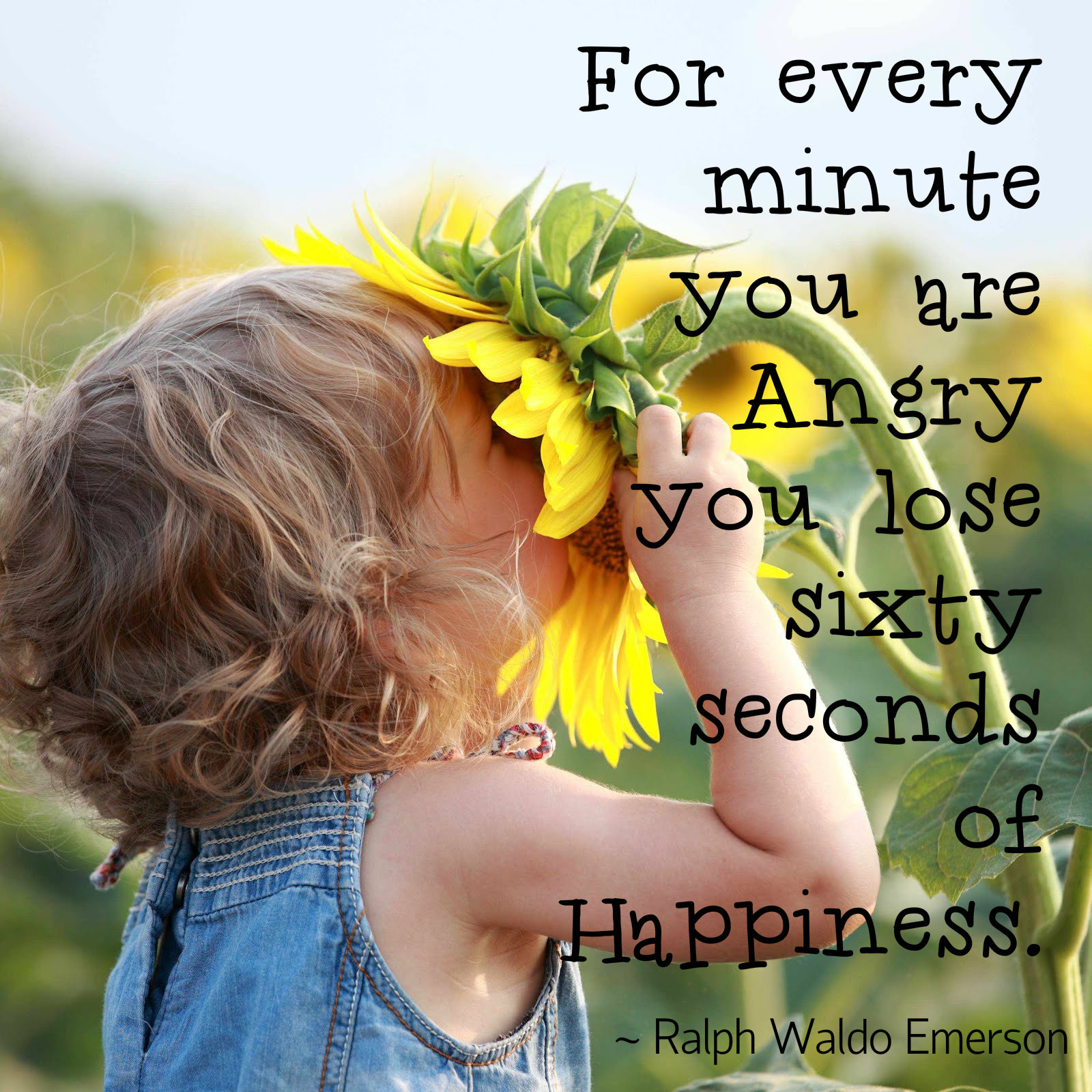 For every minute you are angry , you lose sixty seconds of happiness - Ralph Waldo Emerson