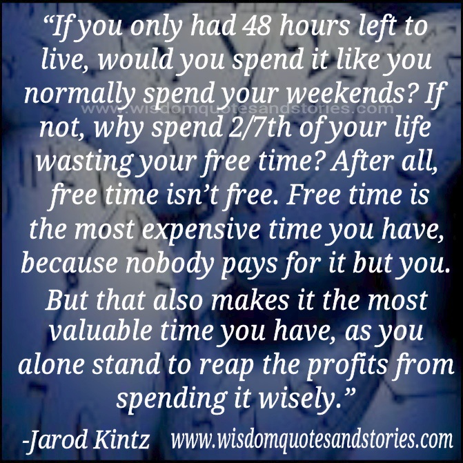free time is the most expensive time you have  - Wisdom Quotes and Stories