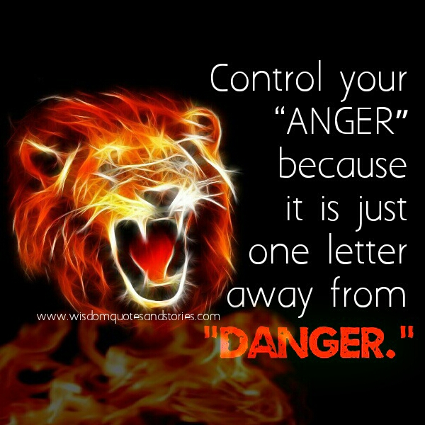Control your anger , it is one letter away from danger  - Wisdom Quotes and Stories