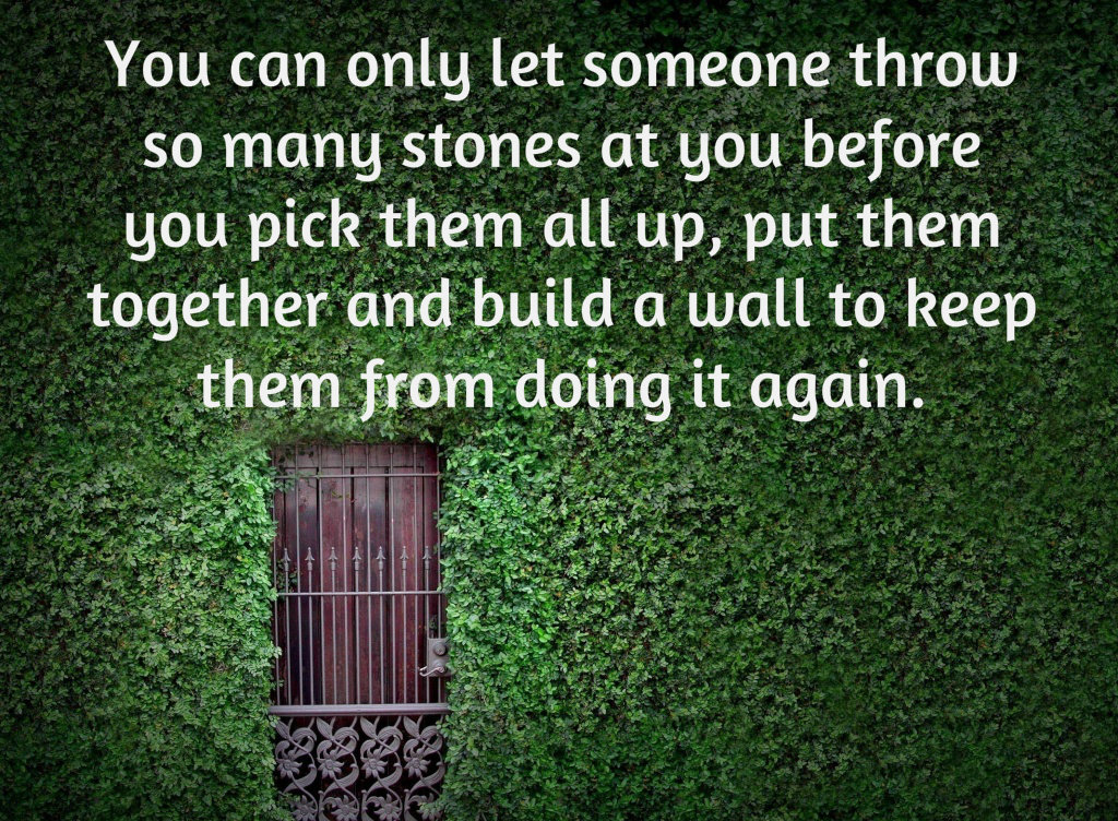 You can let someone throw stones at you , then pick them up and build a wall to keep them from doing it again