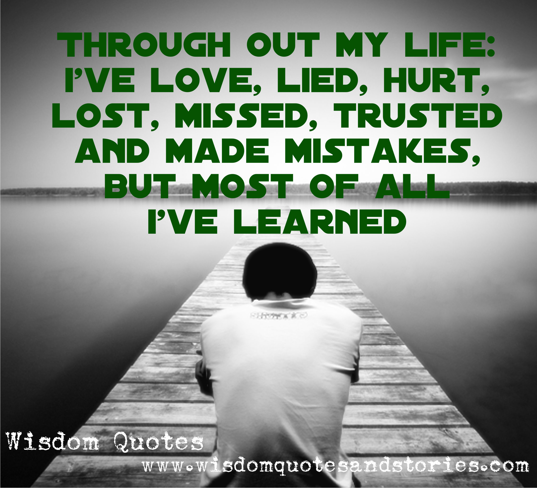 Throughout my life , I have loved ,lied , hurt ,lost , missed , trusted and made mistakes but I have learnt