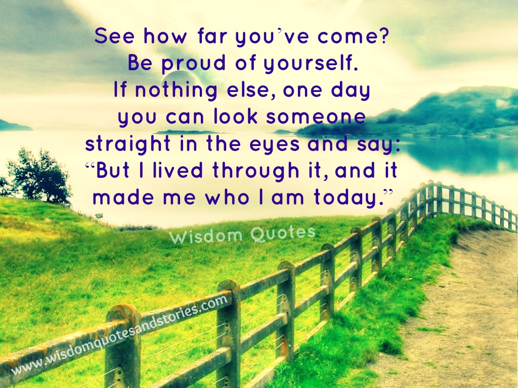 See how far you have come. Be proud of yourself. you have lived through it to be what you are today - Wisdom Quotes and Stories