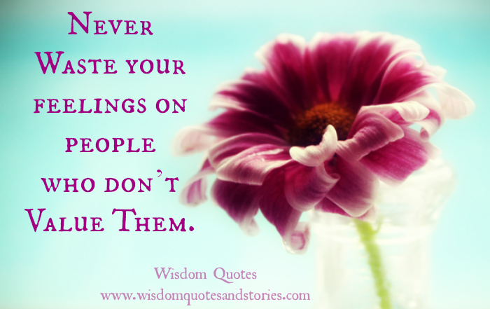 Never Waste Your Feelings On People