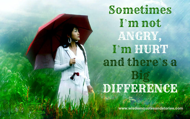Sometimes I am not angry but hurt and there is a big difference  - Wisdom Quotes and Stories