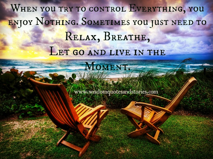 When you try to control everything, you enjoy nothing. you Just need to relax, breathe, let go and live in the moment  - Wisdom Quotes and Stories