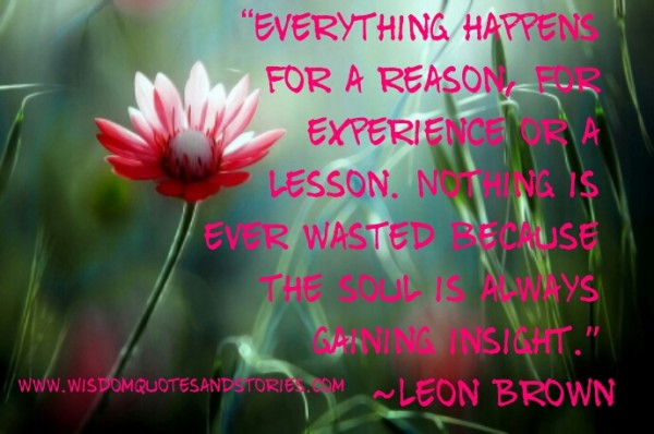 everything happens for reason either for experience or for lesson  - Wisdom Quotes and Stories