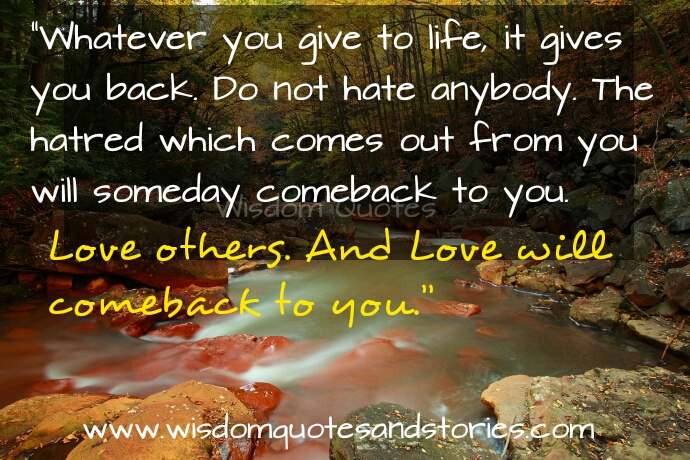 whatever you give to life comes back to you . Love others  - Wisdom Quotes and Stories
