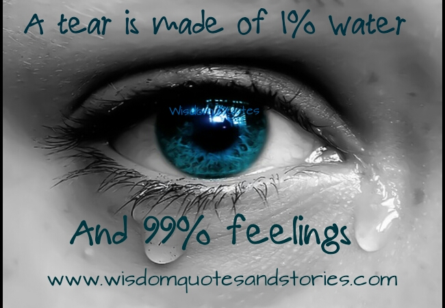 a tear is made up of 1% water and 99% feelings - Wisdom Quotes and Stories