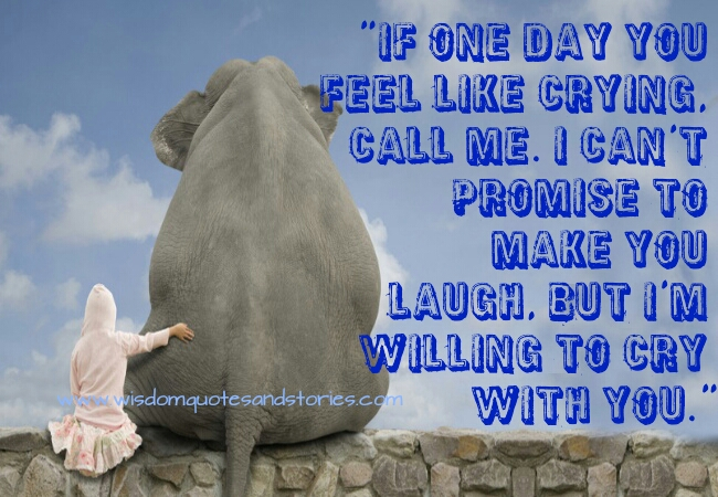 if you feel like crying , call me to cry with you - Wisdom Quotes and Stories