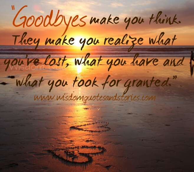 goodbyes make you think what you have lost , what you have and what you took for granted - Wisdom Quotes and Stories