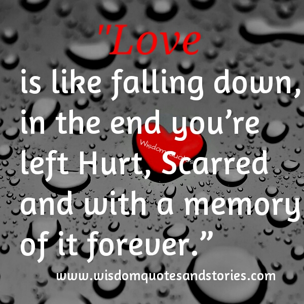 love is like falling down, you are hurt,scarred with a memory forever - Wisdom Quotes and Stories