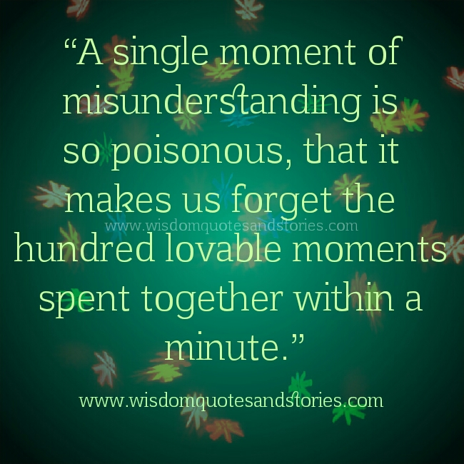 Misunderstanding Quotes Extraordinary A Moment Of Misunderstanding Wisdom Quotes Stories