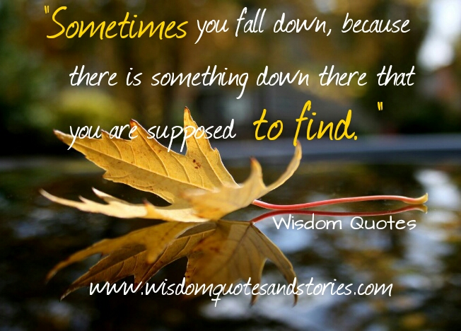 sometimes you fall down to find something down there  - Wisdom Quotes and Stories
