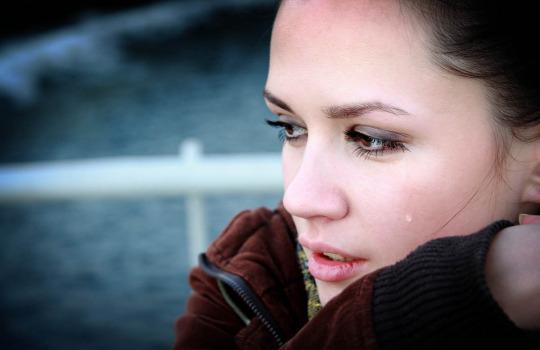 Crying beautiful woman