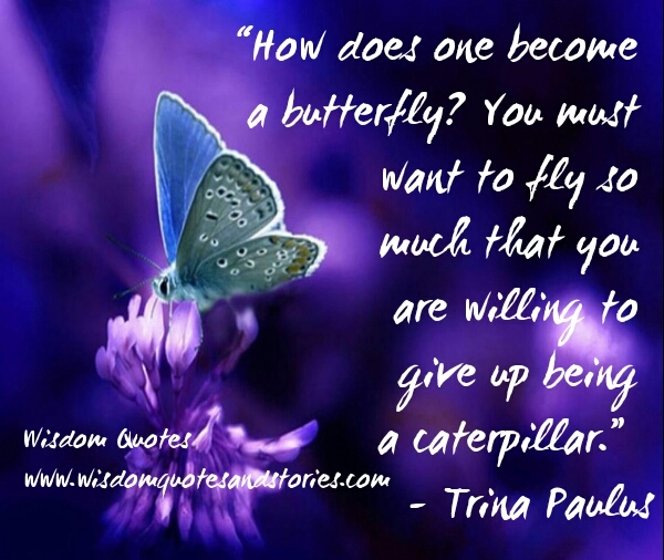 you become butterfly by willing to give up being a caterpillar - Wisdom Quotes and Stories