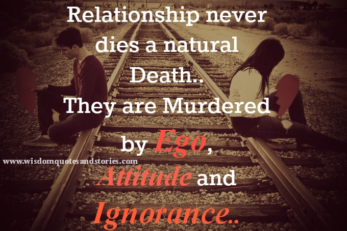 relationships are murdered by ego,attitude and ignorance - Wisdom Quotes and Stories