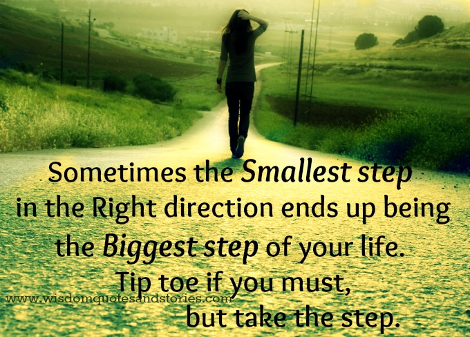 Take a step. Sometimes the smallest step ends up being the biggest step of your life - Wisdom Quotes and Stories