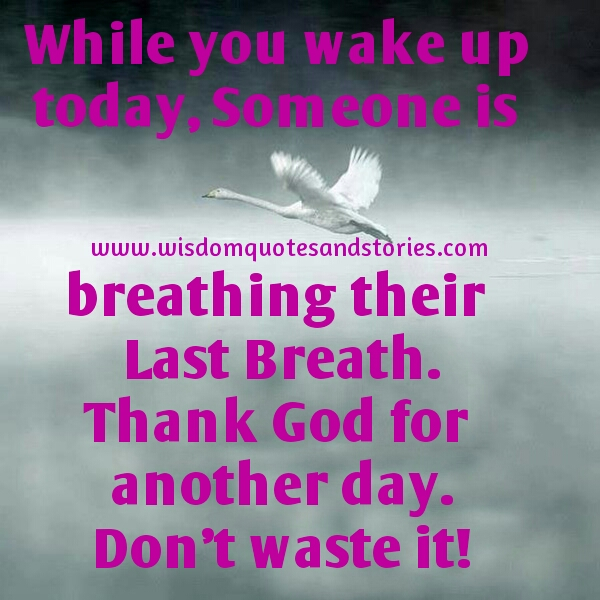 thank God for another day. Don't waste it - Wisdom Quotes and Stories