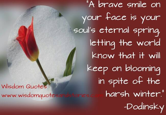 a brave smile on your face in spite of harsh winter is your soul's eternal spring - Wisdom Quotes and Stories
