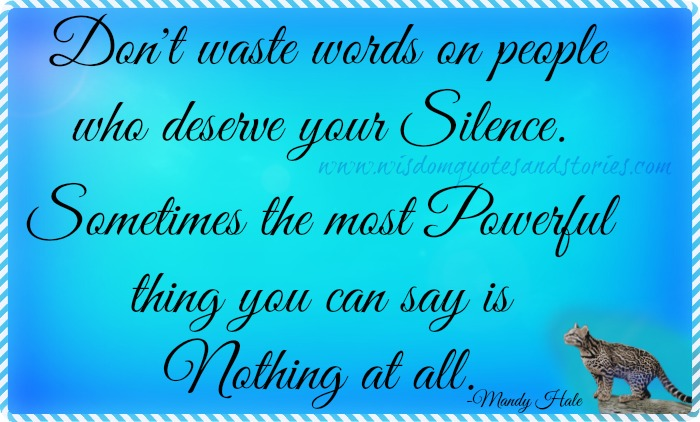 don't waste words on people who deserve your silence - Wisdom Quotes and Stories