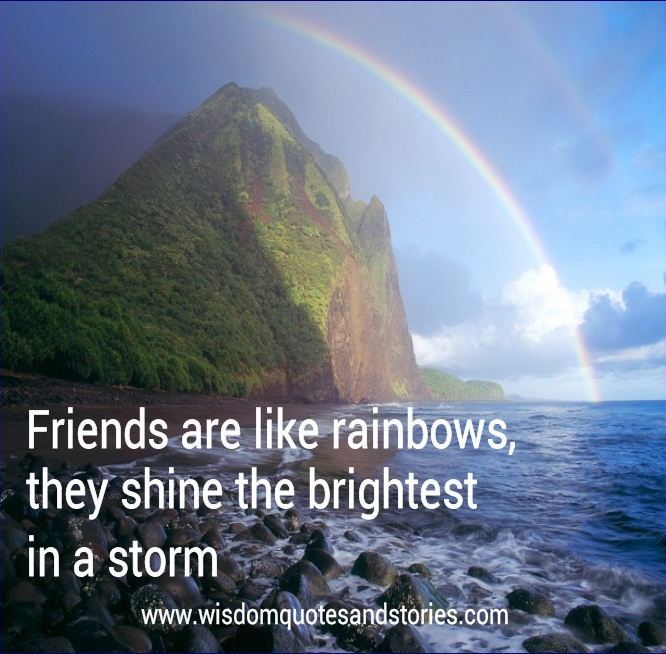 friends are like rainbows . They shine the brightest in a storm - Wisdom Quotes and Stories
